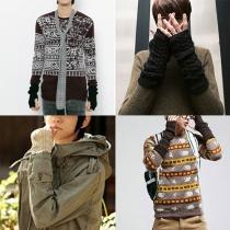 Mode couleur unie en mitaines de tricot longues