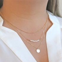 Bijou pour femmes collier multi couche pendentif perle à la mode