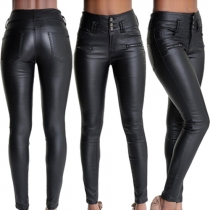 Pantalon Noir Moulant Stylé à la Mode à la Taille Haute en Cuir Synthétique Pour Femmes