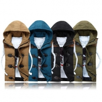 Fashion Sleeveless Hooded Couple Vest