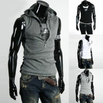 Fashion Solid Color Sleeveless Hooded Men's Vest