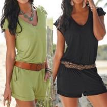 Combi-Short Cool Stylée à la Mode Sans Manches Encolure V Froncée à la Taille