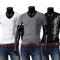 Tee-shirt Cool Décontracté à la Mode à Imprimés de Lettres Encolure V Pour les Hommes