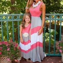 Robe Elégante à la Mode Sans Manches à Rayures Pour Parents-Enfants/Mère-Fille