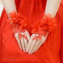 Mitaines Mariage Episées Dentelle Fleurs 3D Style Romantique
