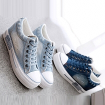Fashion Round Toe Flat Heel Lace-up Inner-increased Canvas Shoes