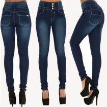 Jeans Moulant Stylé à la Mode à la Taille Haute Pour Femmes