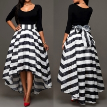 Elegant Solid Color Tops and Striped High-low Hemline Skirt Two-piece Set