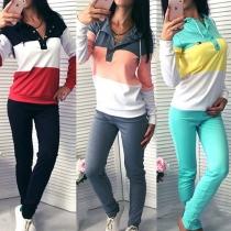 Ensemble Sport Décontracté Stylé à la Mode en Couleur Contrastée:Top à Capuche+Pantalon
