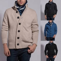Stylish Solid Color Stand Collar Long Sleeve Single-breasted Men's Sweater Coat