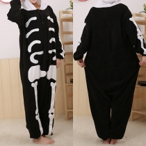 Fashion Skeleton Pattern Hooded One-piece Pajamas Sleepwear