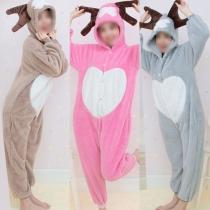 Pyjama Une-Pièce Doux Chaud Mignon à la Mode à Capuche