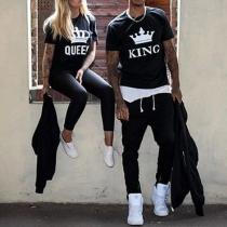T-shirt de Couple à Manches Courtes et Col Rond