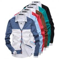 Fashion Contrast Color Long Sleeve Men's Knit Cardigan