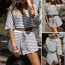 Fashion Half Sleeve V-neck Crop Top + High Waist Shorts Striped Two-piece Set