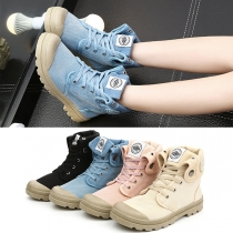 Retro Style Round Toe Lace-up High-cut Canvas Shoes