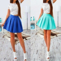 Fashion Short Sleeve Lace Top + High Waist Skirt Two-piece Set