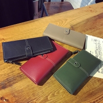 Retro Style Solid Color Long Wallet for Women