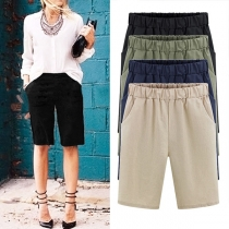 Fashion Solid Color Elastic Waist Knee Shorts