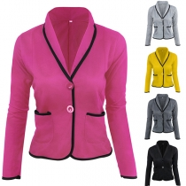 OL Style Long Sleeve Contrast Color Slim Fit Blazer