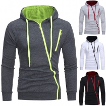 Fashion Solid Color Long Sleeve Oblique Zipper Hooded Men's Sweatshirt