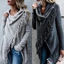 Sweater/Pull Stylé à la Mode Doux au Col Cagoule à Manches Longues avec les Franges