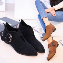 Sexy Pointed Toe Hollow Out Straped Matin Low-heeled Boots