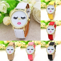 Cute Cartoon Pattern Round Dial PU Leather Watchband Quartz Watch