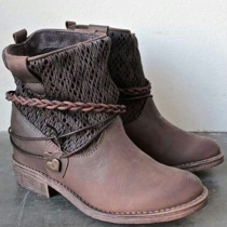 Fashion Flat Heel Round Toe Hollow Out Spliced Boots Booties
