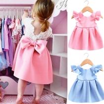 Robe Douce Mignonne à la Mode avec un Nœud Papillon Pour les Enfants