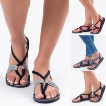 Sandales à Talons Plats Bohémien-Style Sexy à la Mode