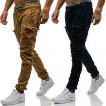 Fashion Solid Color Elastic Drawstring Waist Men's Sports Pants