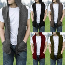 Fashion Solid Color Sleeveless Hooded Men's Knit Vest