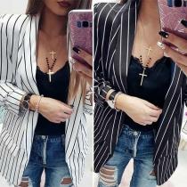 Blazer/Veste Stylée à la Mode OL-Style à Rayures à Manches Longues