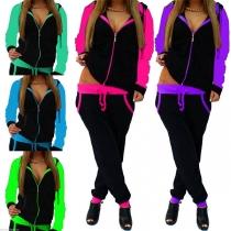 Fashion Contrast Color Sweatshirt Coat + Pants Casual Sports Suit