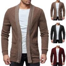 Fashion Solid Color Long Sleeve Front-pocket Men's Knit Cardigan