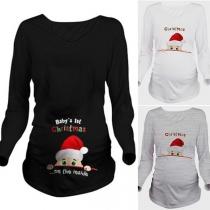 Tee-Shirt Doux Mingon à la Mode à Imprimés de Papa Noël Pour les Femmes Enceintes