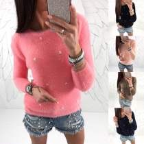 Sweater Doux Stylé à la Mode à Manches Longues avec les Perles en Laine