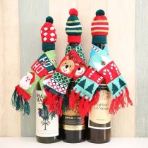 Cute Knit Scarf & Hat Two-piece Set Decorations for Wine Bottle