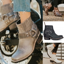 Retro Style Square Heel Round Toe Ankle Boots Booties