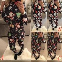 Ensemble Décontracté Stylé à la Mode à Imprimés de Noël : Pull à Manches Longues+Pantalon