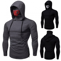 Fashion Skull Printed Spliced Mask Long Sleeve Men's Hoodie