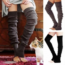 Fashion Solid Color Over-the-Knee Ribbed Socks