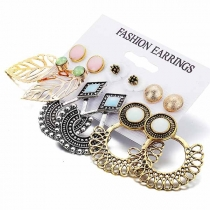 Fashion Hollow Out Leaf Flower Shaped Stud Earring Set 6 pair/set