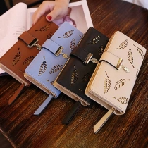 Sweet Style Hollow Out Leaf Long-style Wallet