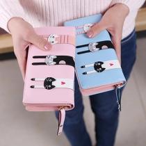 Cute Cartoon Cat Pattern Long-style Wallet