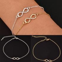 Bracelet à Pendentif Symboles Infini de Strass de Mode