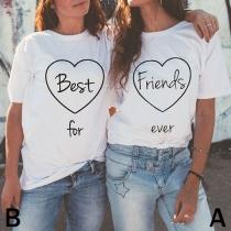 Tee-Shirt Doux Stylé à la Mode à Imprimés de Lettres Pour les Amis