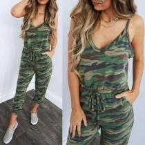 Combinaison Stylée à la Mode Sexy à Bretelles Dos Nu Encolure V à Imprimés de Camouflage