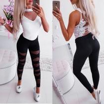 Leggings Noir Moulant à la Mode Sexy à la Taille Haute avec un Design Ajouré